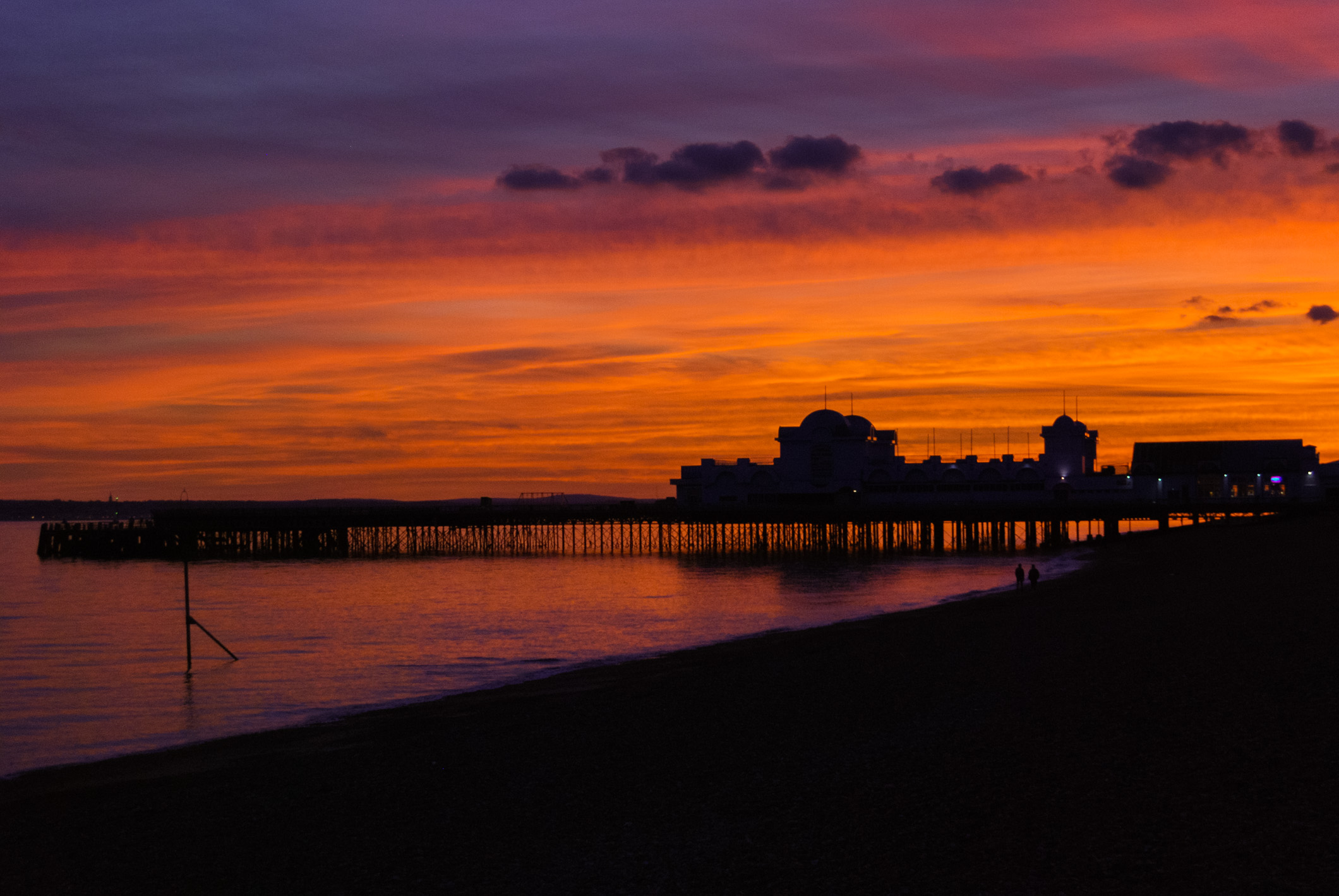 Color photograph of the sunset at South Parade Pier, Southsea, Portsmouth. England, Taken October 18 2017