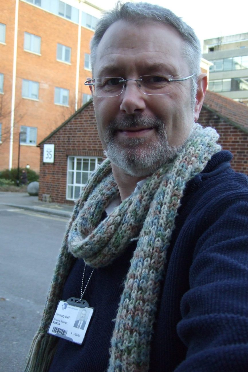 Photograph of Gary Allman outside Building 35 on his last day working at the University of Southampton