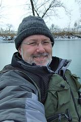 Gary kayaking in the ice on Lake Springfield