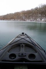 Kayaking in the ice on Lake Springfield