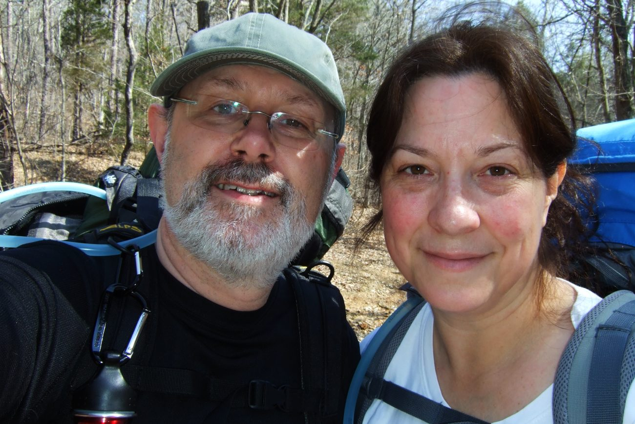 Gary and Ginger Allman, backpacking on the Berryman Trail, Missouri. March 2011.