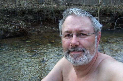 Gary taking a bath at Little Brazil Creek