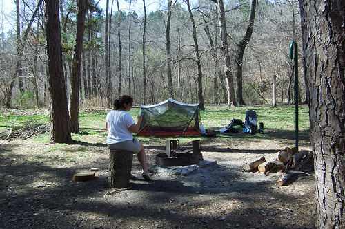 Breaking camp at Brazil Creek Campground, Missouri