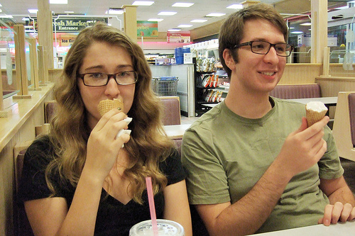Katie and Alek enjoy their ice cream