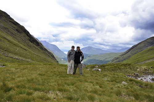 Gary and Ginger at the saddle of  Lairig Gartain