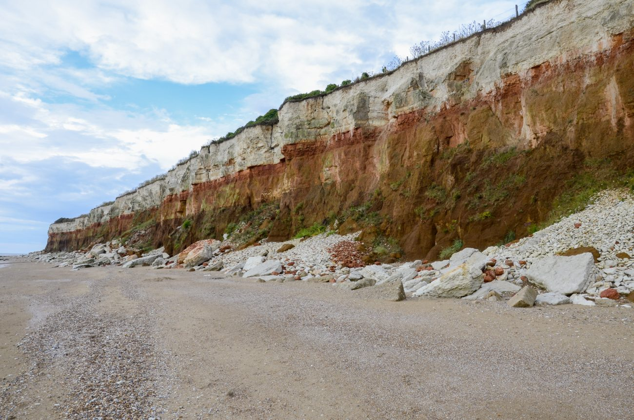 Photograph of the cliffs at Hunstanton, UK showing the colored strata