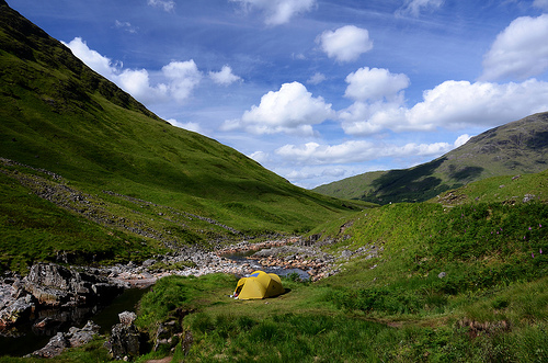 Camped by the River Etive in Glen Etive