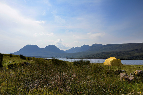 Camped alongside Loch Bad a'Ghaill
