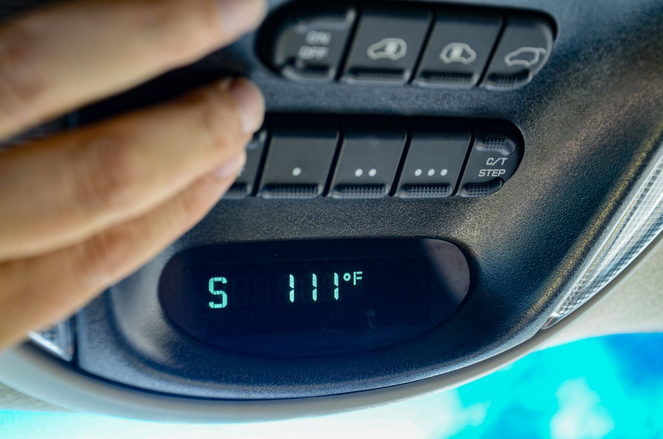 In-car thermometer reading 111 F.