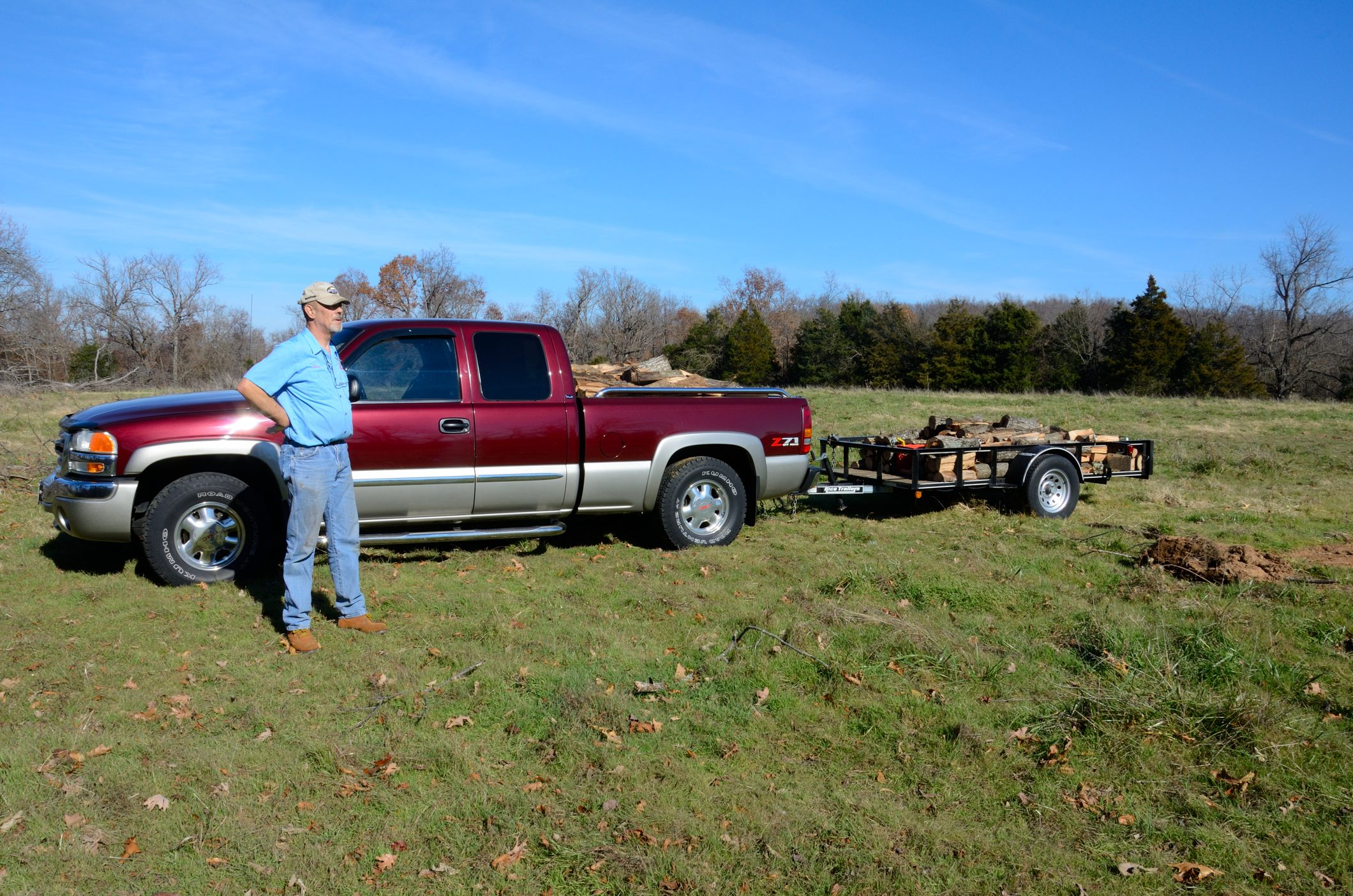 Tom, pick-up, trailer, and a good morning's work