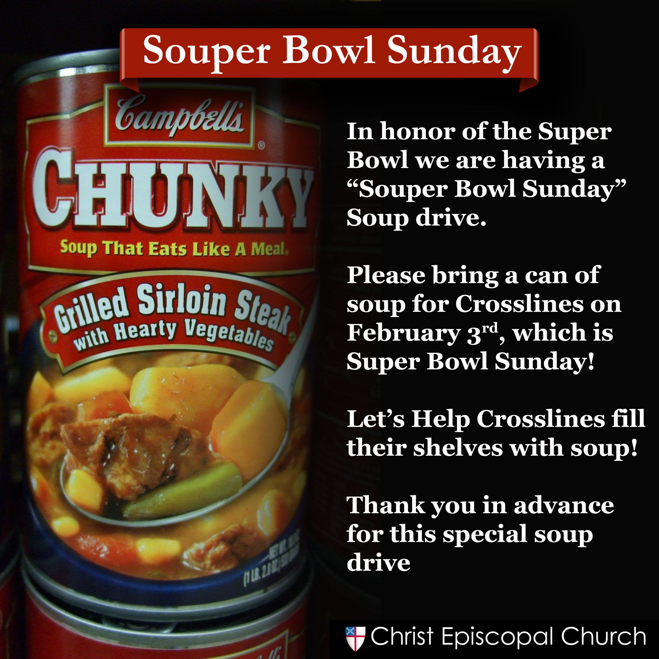 Souper Bowl Sunday - Facebook Post