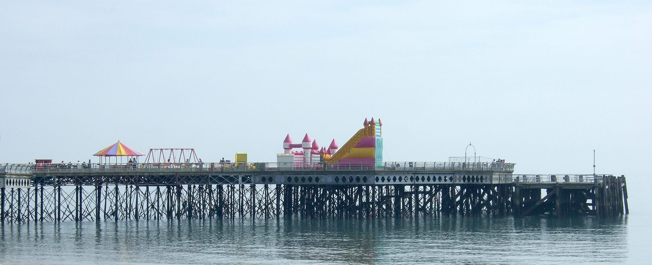 inflatables on South Parade Pier Southsea, Hampshire UK.