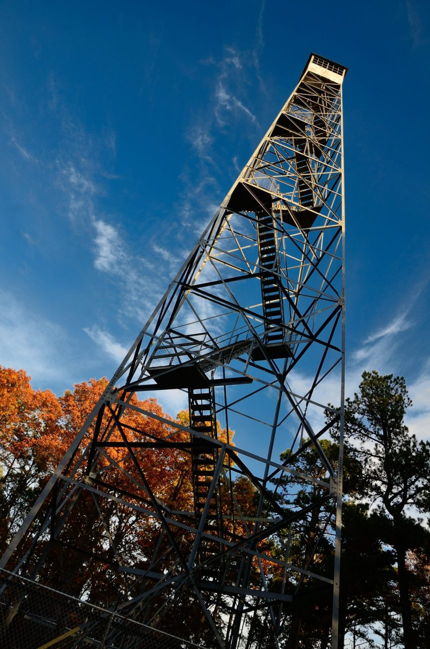 color photograph of the lookout tower located at the Pineview Trailhead of the Piney Creek Wilderness Area in Missouri, USA. Picture taken November 11, 2011.