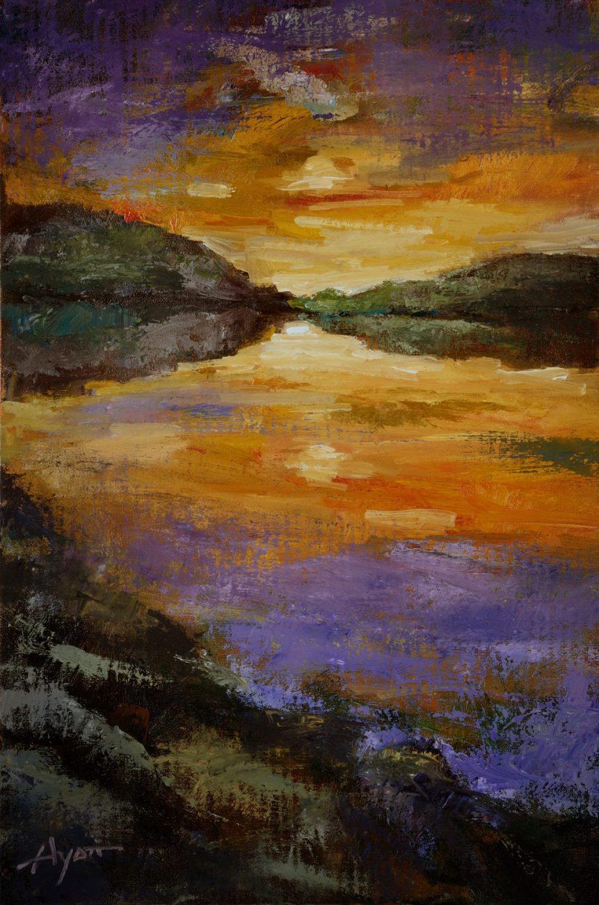 Sunset over Estillyen - Oil on canvas