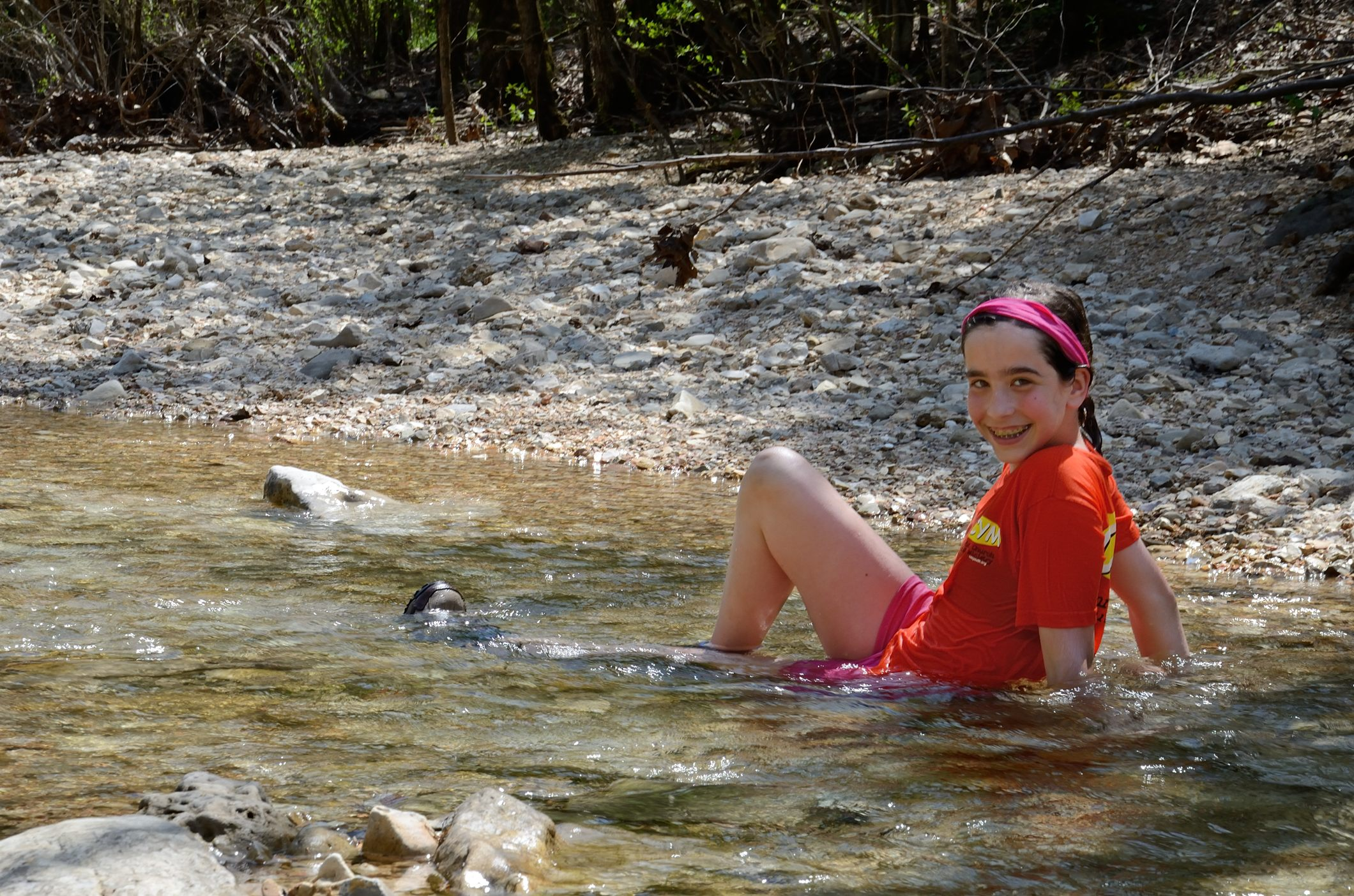 Record temperatures meant a wallow in Piney Creek was necessary