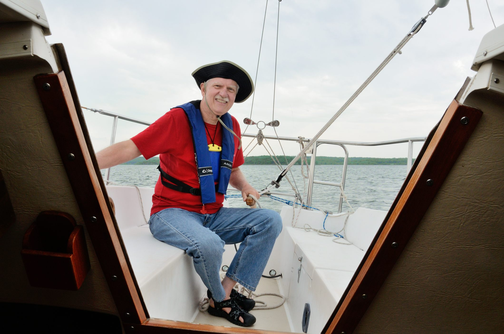 Cap'n John at the helm