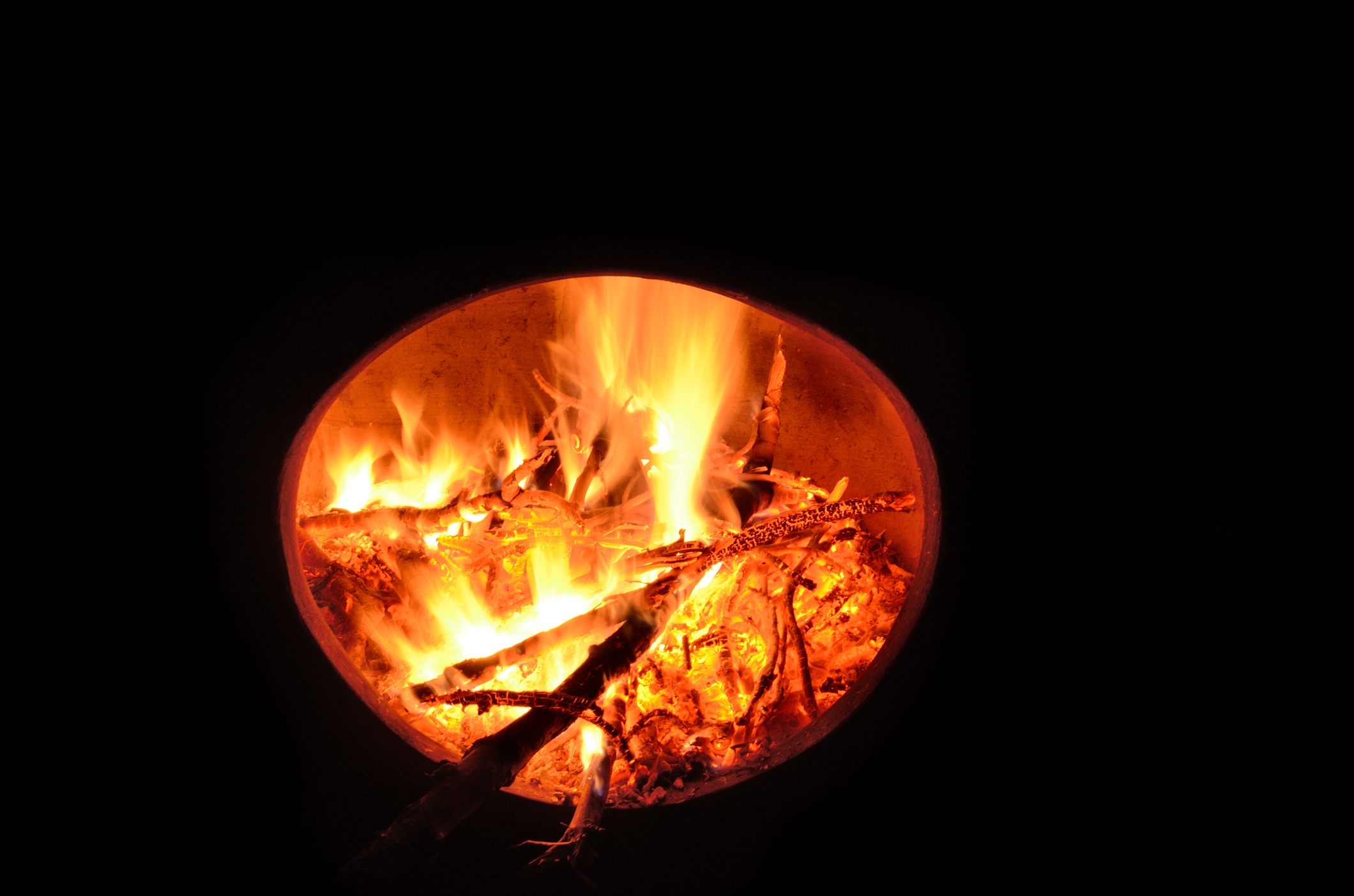 Photograph of burning twigs and branches in a chiminea