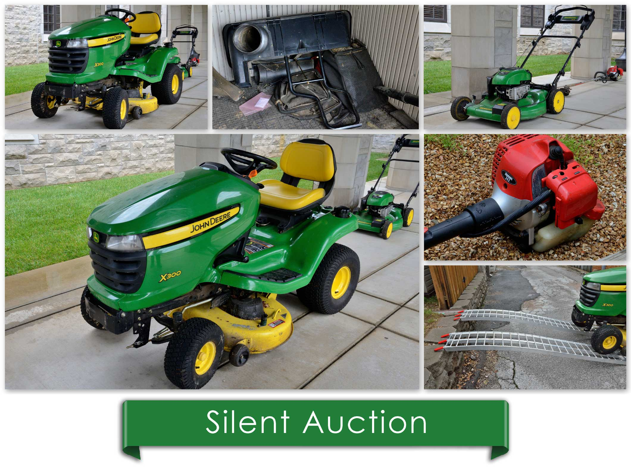 Photo collage of motorized garden equipment. Sit on lawn mower, weed whacker, and aluminium ramps. www.breakfastinamerica.me