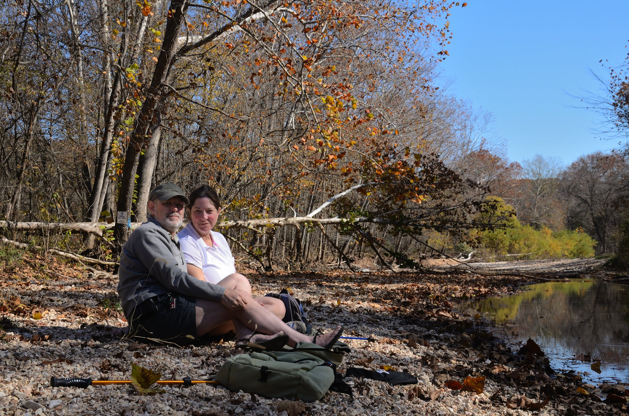 Gary and Ginger sat by Woods Fork - www.ozarkswalkabout.com
