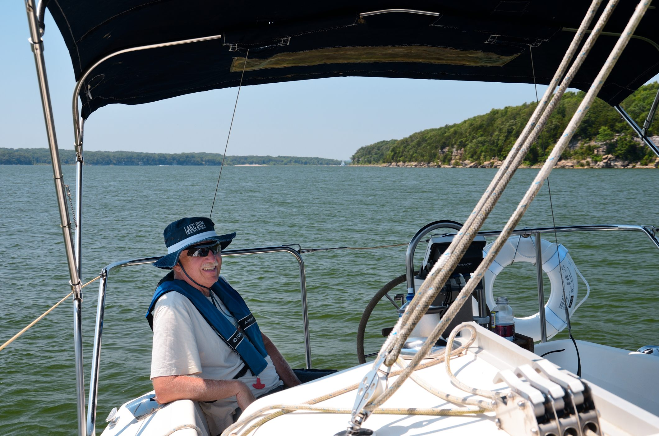 Anchored near the shore on Stockton Lake - www.ozarkswalkabout.com