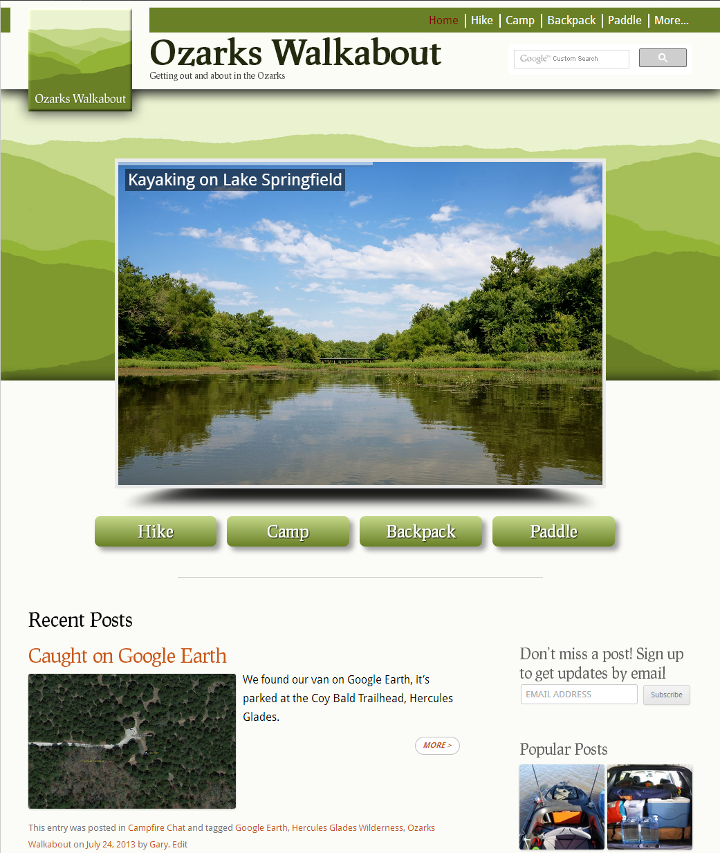 The new look Ozarks Walkabout Website - www.ozarkswalkabout.com