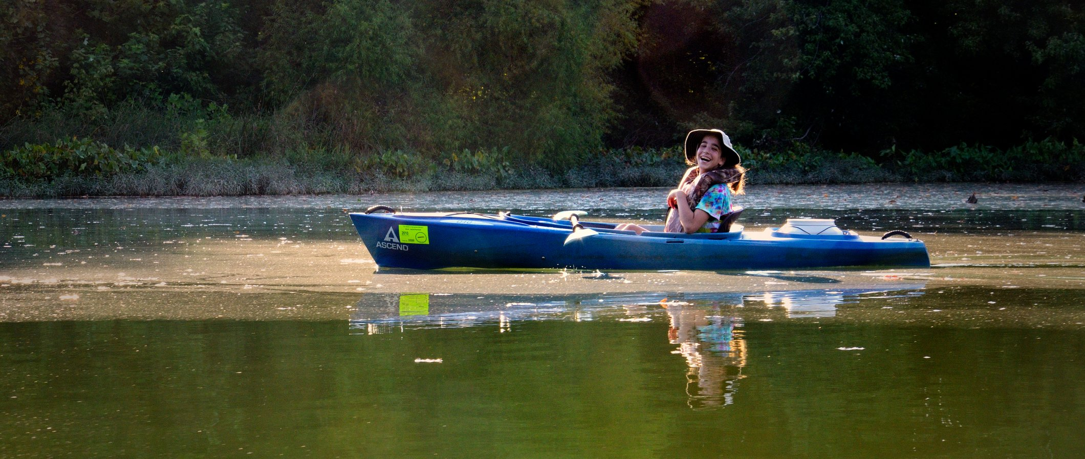 Lanie in an Ascend D10 Kayak on the Jame River, Springfield Missouri