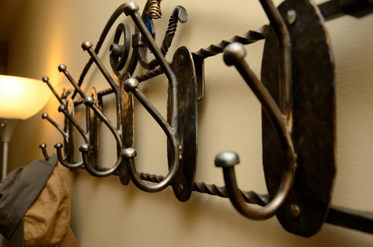 welded steel coat rack