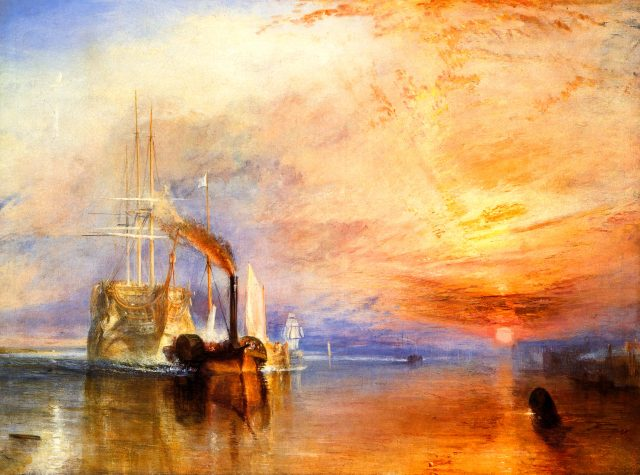 Picture of the painting: The Fighting Temeraire tugged to her last berth to be broken up, 1838 - Turner