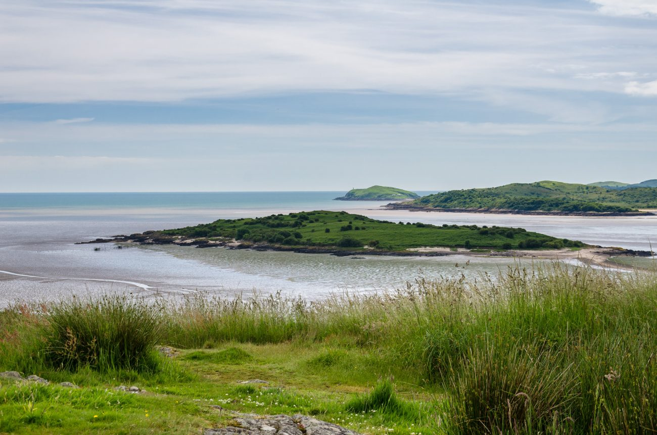 Rough Island across the  river Urr. Hestan Island can be seen in the distance.