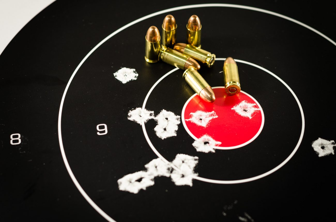 Used shooting target with 9mm ammo