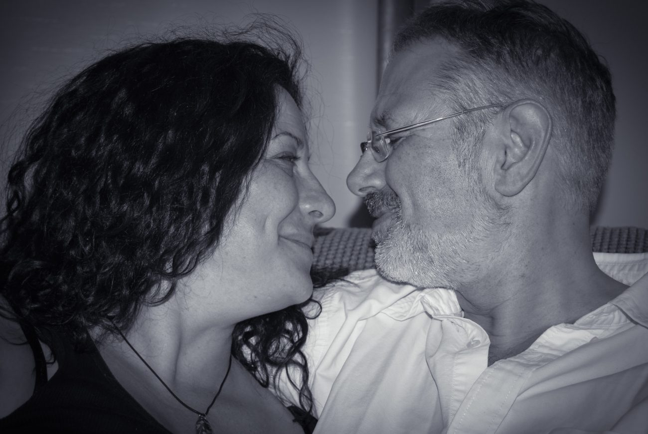A black and white photograph of Gary and Ginger Allman on the the day they first met (August 11, 2007)