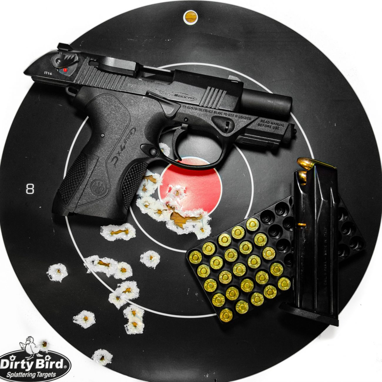 Beretta PX4 Storm Compact with slide back on a splatter target