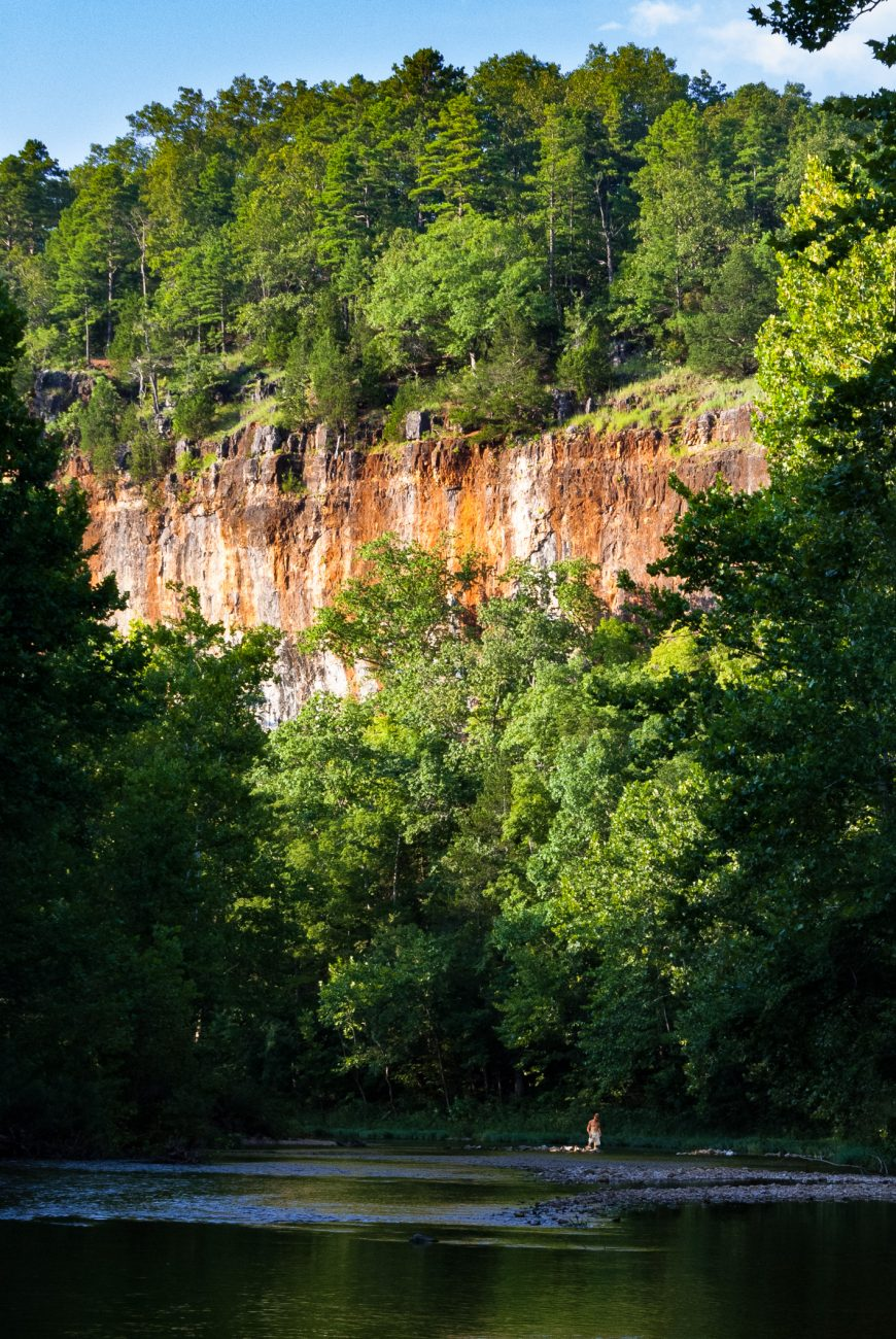 Color photograph of Red Bluff on Huzzah Creek, Davisville, Missouri