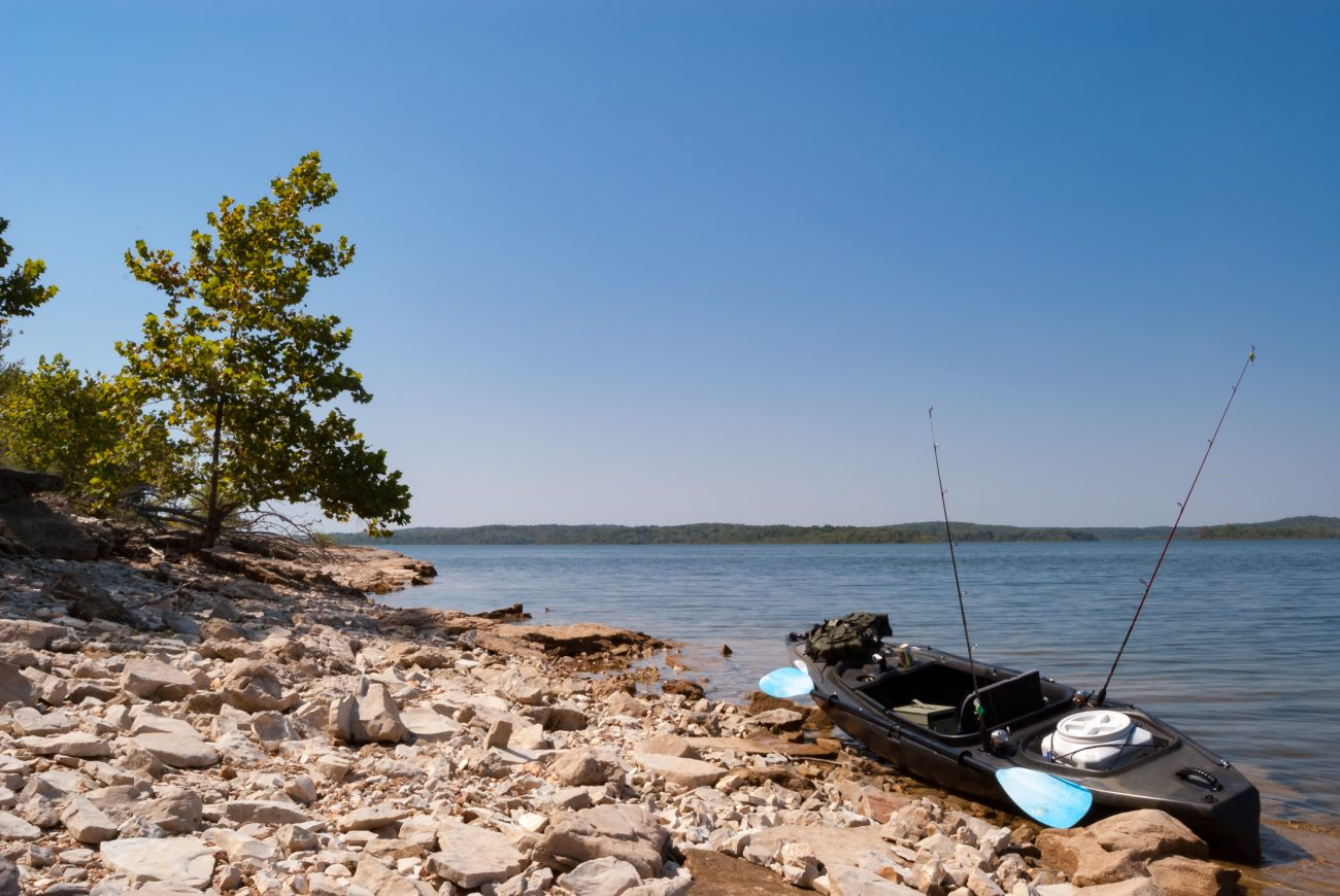 Ascend FS10 Kayak on the shore of Stockton Lake, Missouri