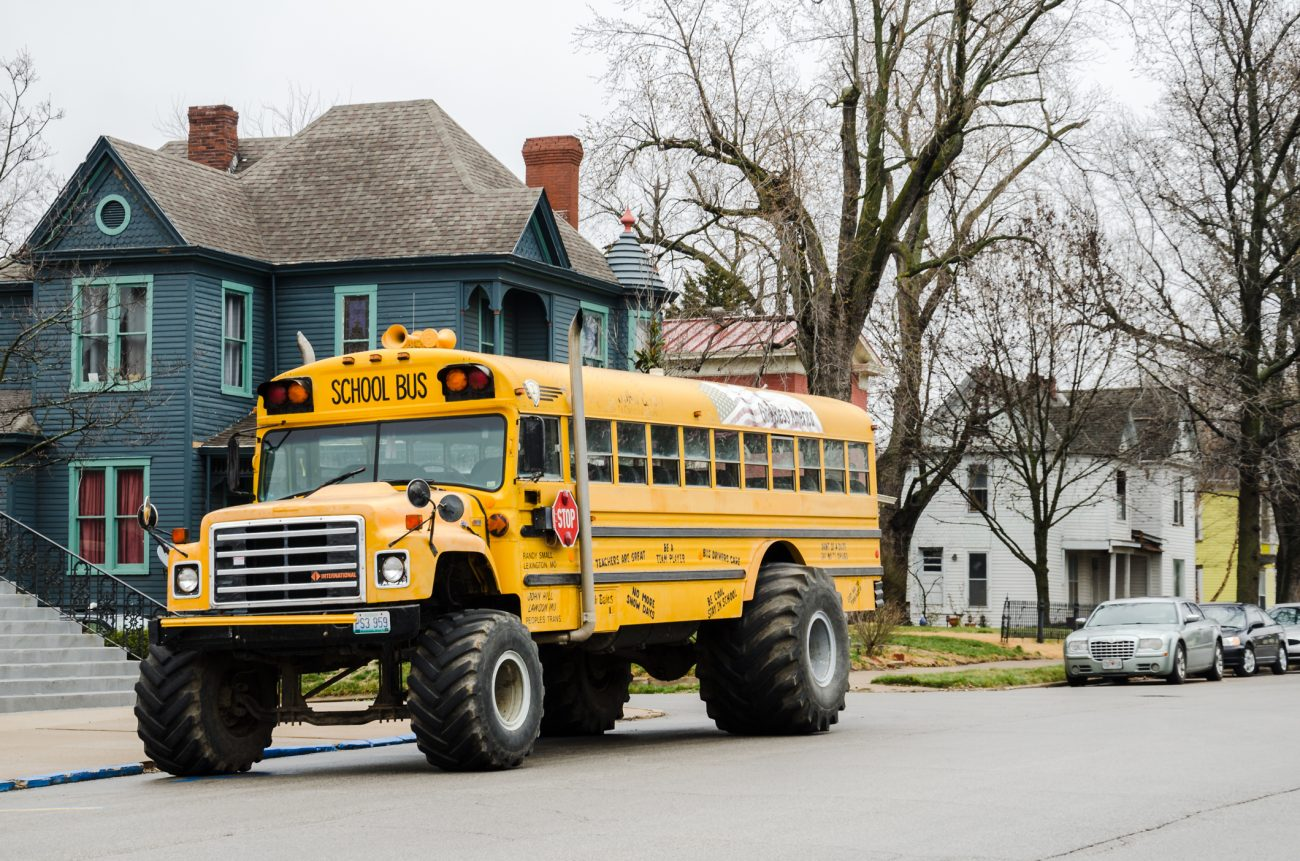 A wider view of the 'Monster Bus'  just to show it was parked on the street.