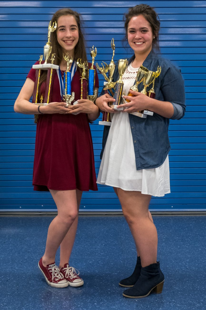 Lanie & Madison trying not to drop their trophies