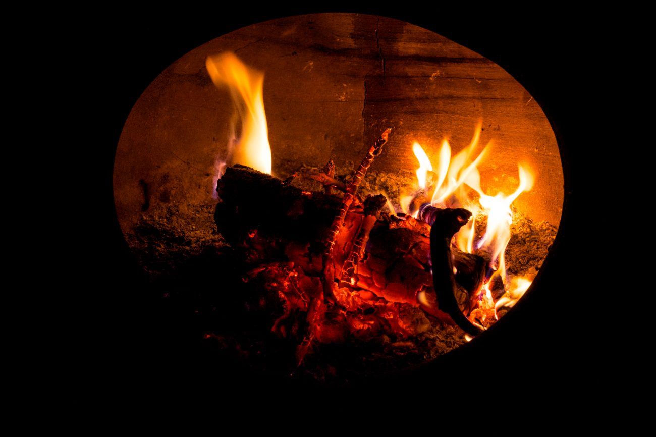 Photograph of wood buring inside a chiminea