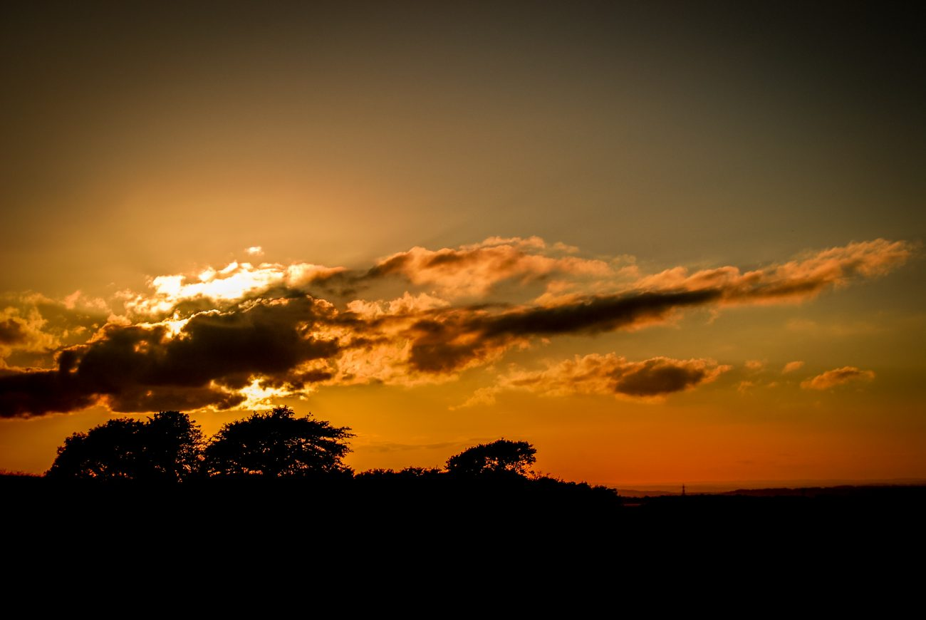 A view of the sunset from Butser Hill in Southern Hampshire, UK