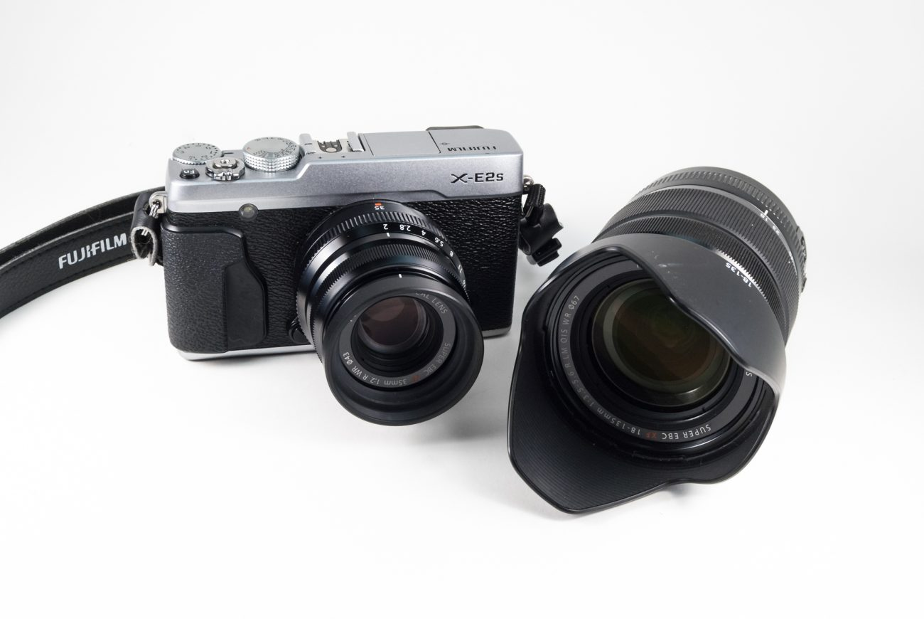 Fujifilm XE2s Camera with 35mm F2 WR lens, and 18-135mm F3.5-5.6 OIS WR