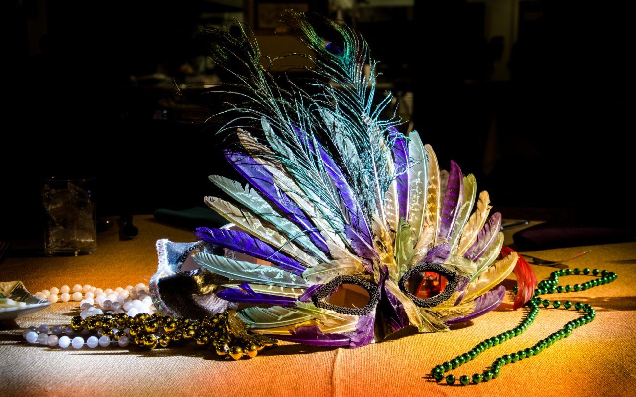 Photograph of a colorful Mardi Gras mask