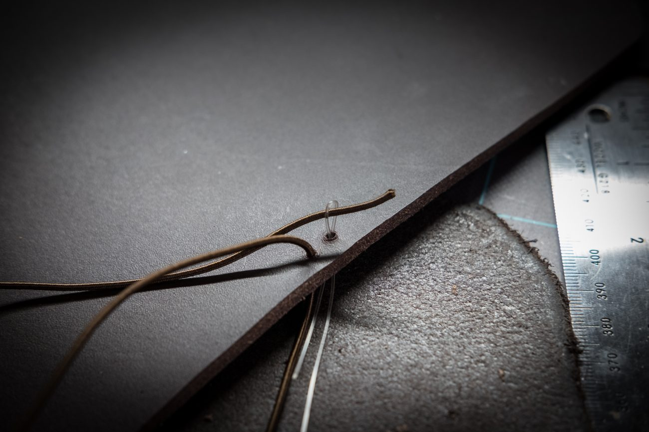 How to thread an elastic cord through leather