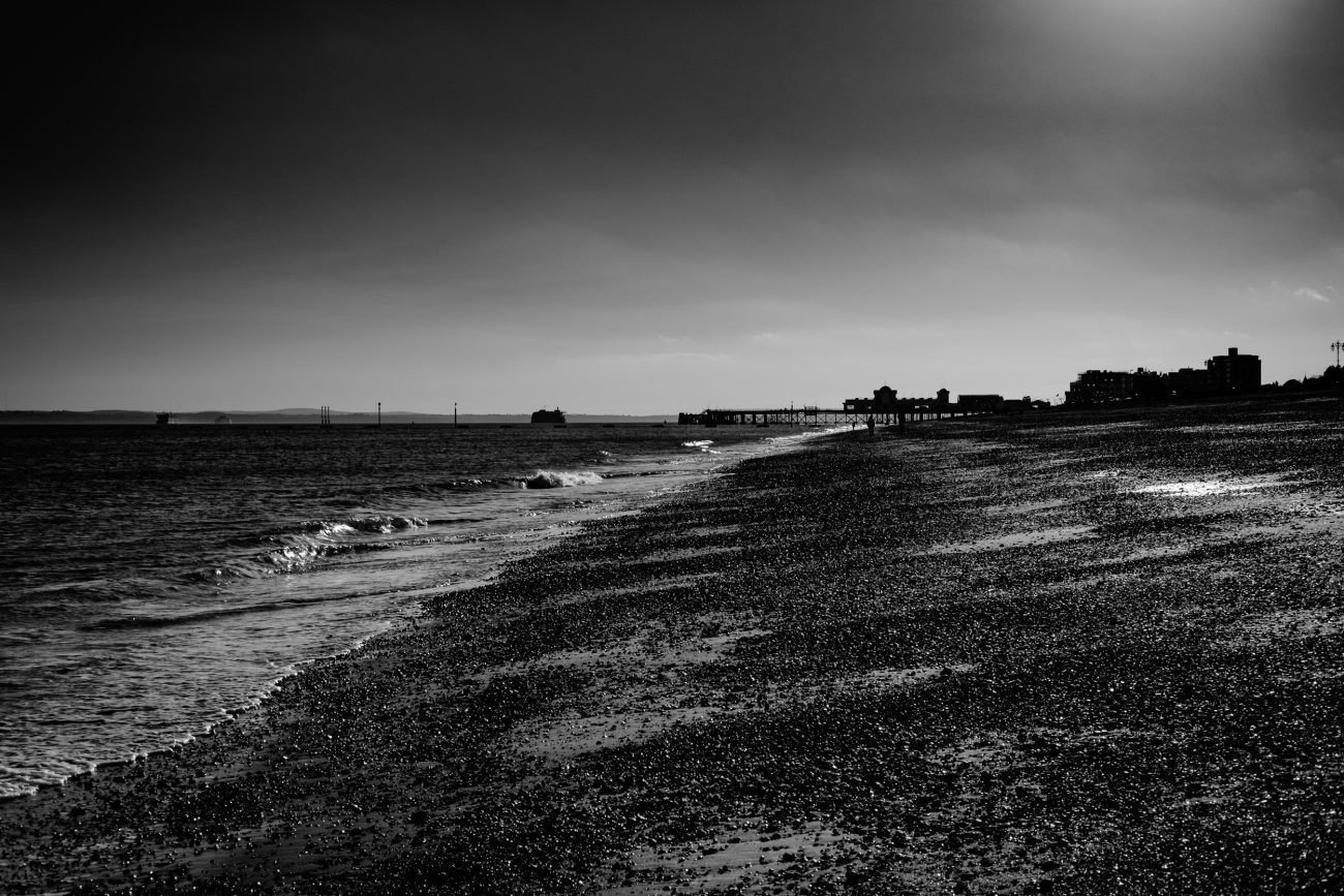 Black and white photograph of Southsea Beach, UK