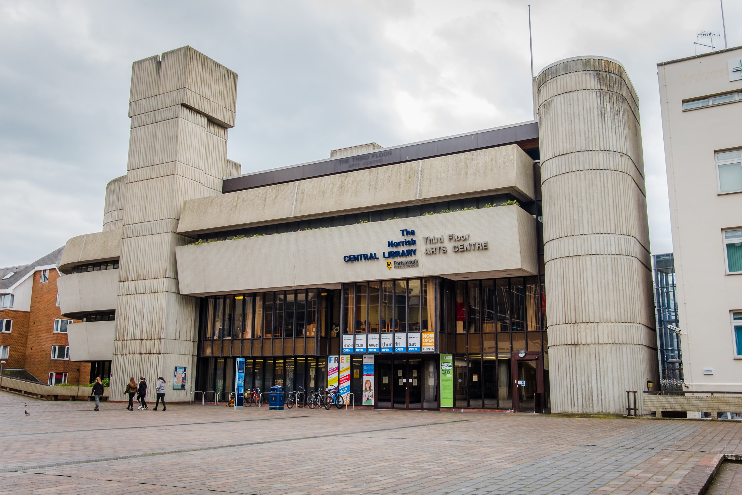 Photograph of the The Norrish Central Library, Portsmouth Guildhall Square, Portsmouth UK