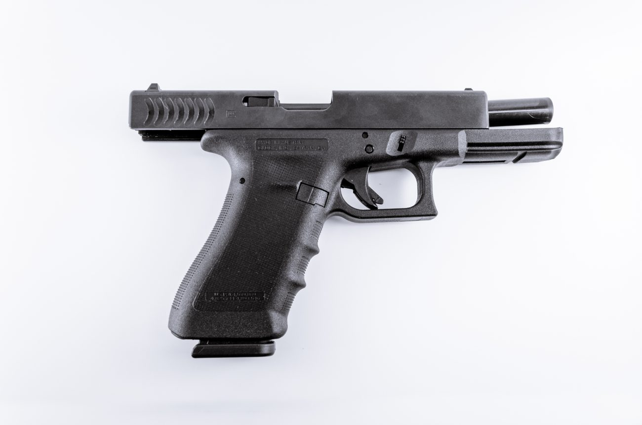 Photograph of a Glock 17 Semiautomatic 9mm handgun with the slide retracted.