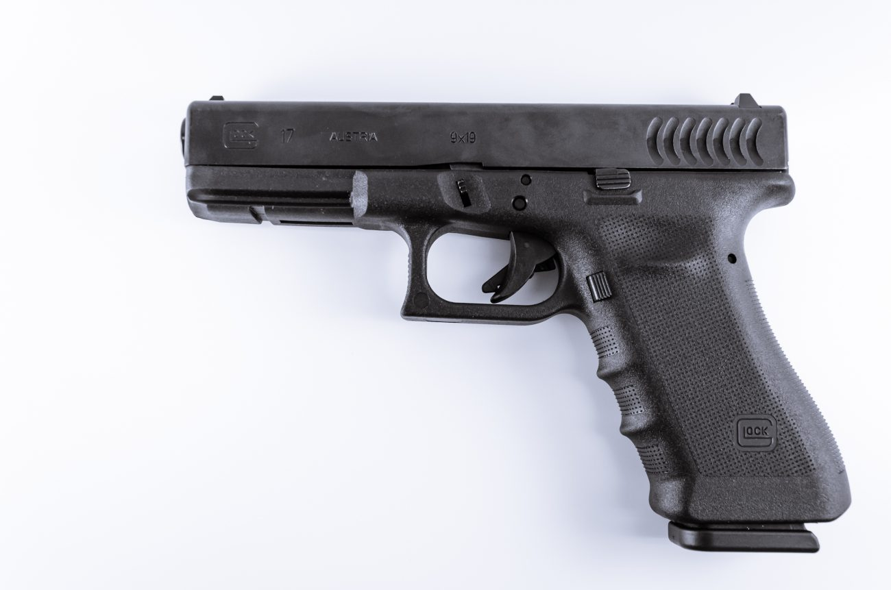 Photograph of a Glock 17 Semiautomatic 9mm handgun.