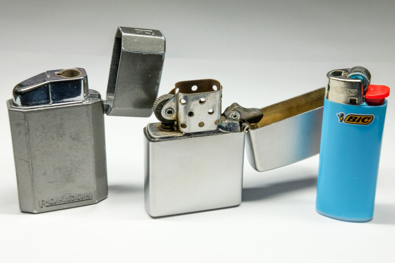 Photograph of a Ronson, Zippo and Bic Lighter