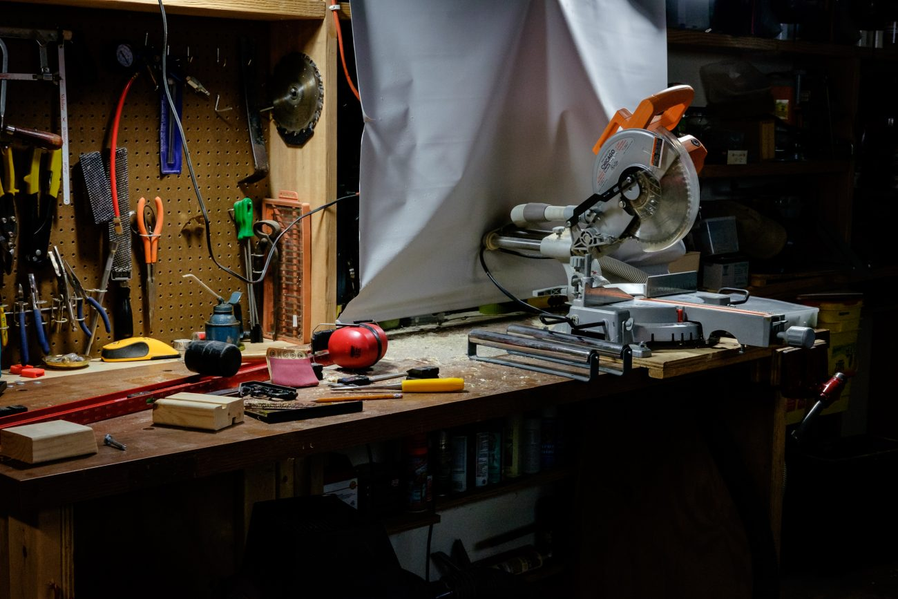 Photograph of a garage workbench - mid project
