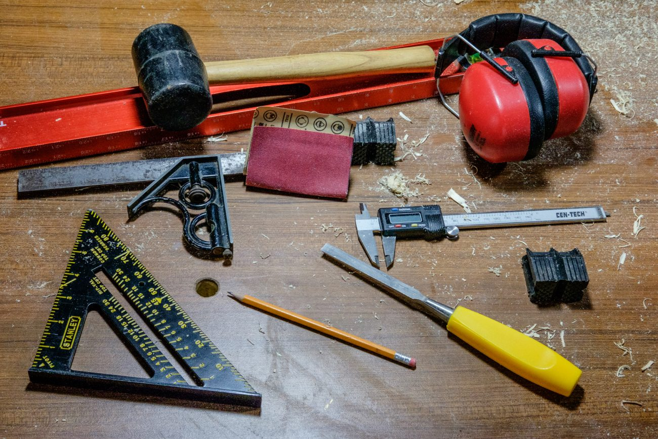 Photograph of some simple tools on a workbench