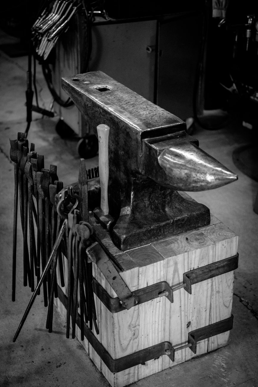 Black and white photograph of an anvil