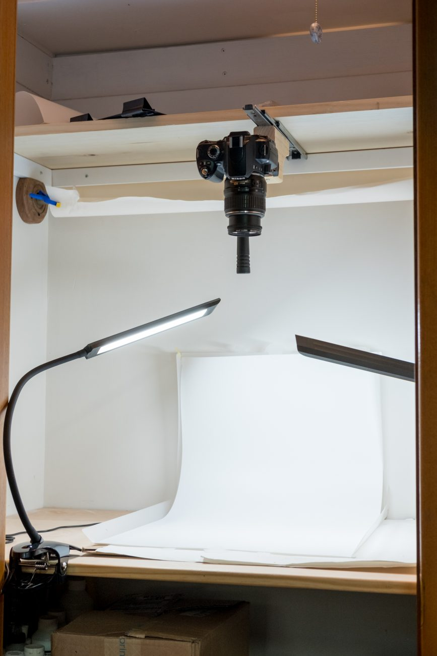 image of a closet used for small product photography.
